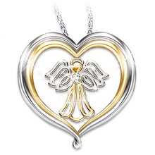 Angel Necklaces for Woman Gold and Silver Two-Tone Heart Clear Zirconia Pendant Necklace Wedding Engagement Jewelry Gifts two tone heart
