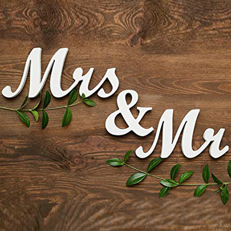 Комплект из 3 предметов комплект Европейский Свадебная вечеринка украшения деревянные Mr & Mrs письма Свадебный знак Подставки для фотографий...
