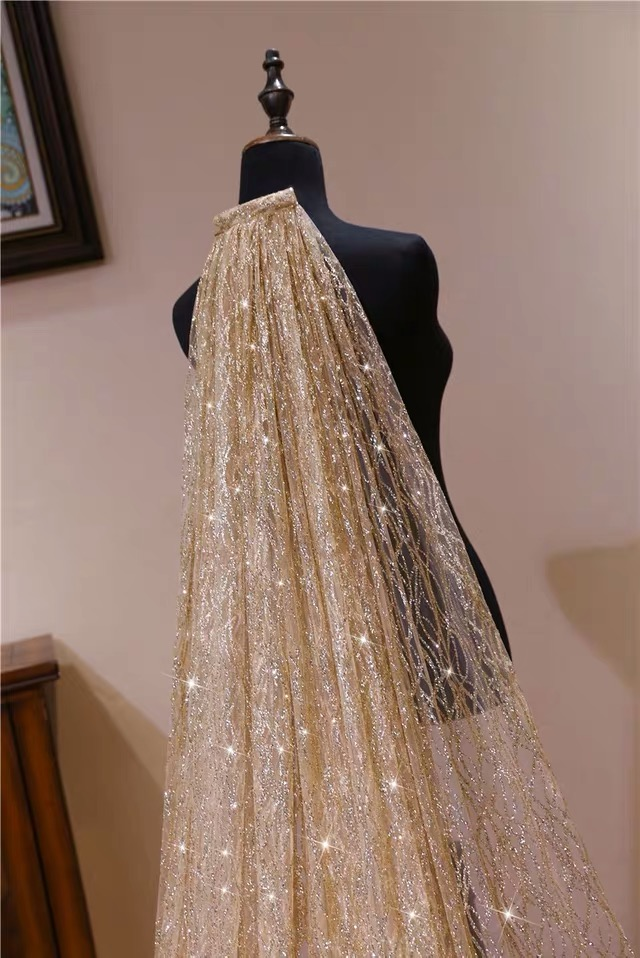 Gold White Blingbling Glitters Bridal Veils Luxury Wedding Veil Bride 3x3.5 Meters Long Cathedral Veil With Comb Peigne Mariage - 5