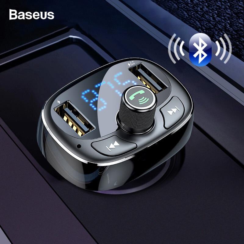 QSS-50 Universal Manos Libres inal/ámbrico para Coche Reproductor de Audio MP3 Modulador de FM con Cargador USB Pantalla LCD para tel/éfonos