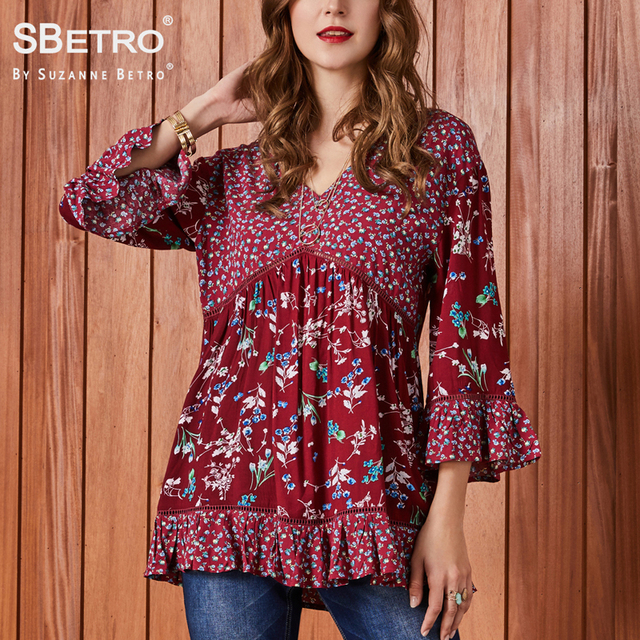 f0547628ae9 SBetro by Suzanne Betro Lace Print Blouse Modern Lady V-Neck Twin Mixed 3 4 Bell  Sleeve Autumn Casual Womens Shirt Tunic Top
