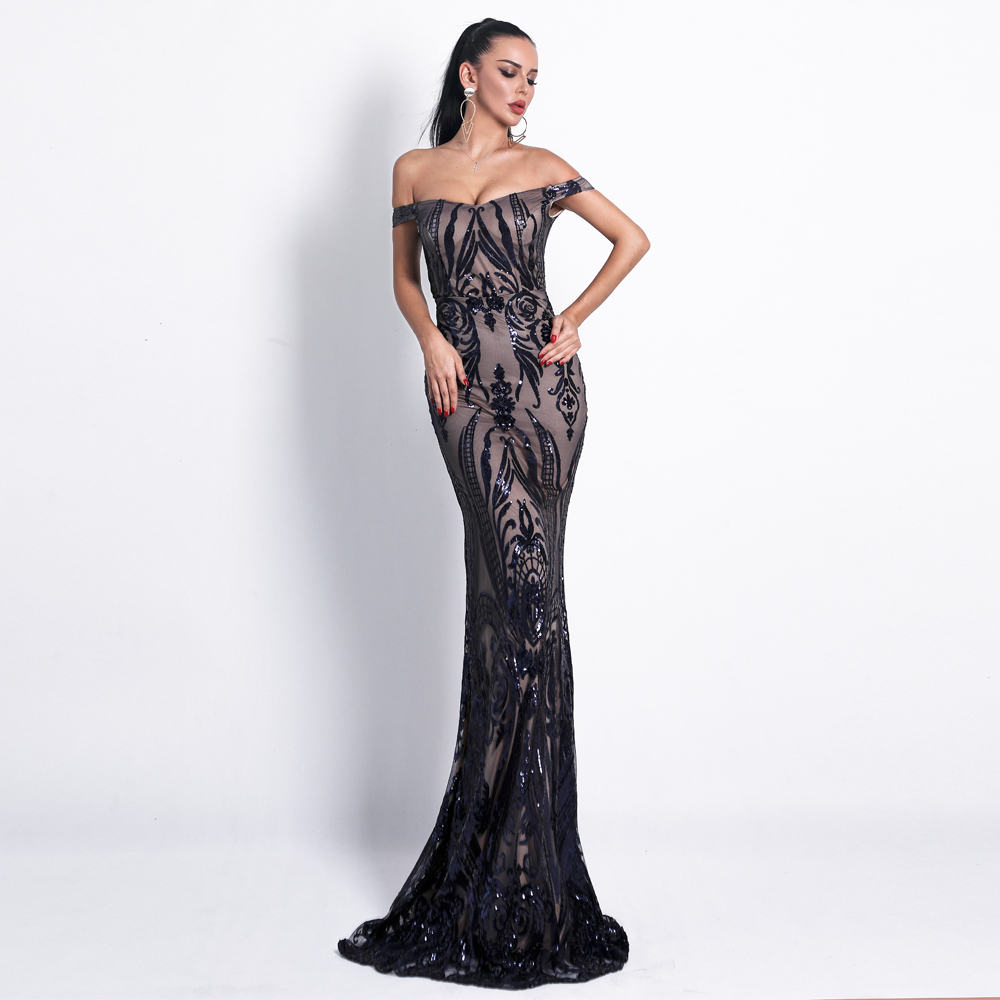 Yesexy 2019 Women Sexy Bra Off Shoulder Dresses Female Backless Sequin Elegant Maxi Party Dress Vestdios
