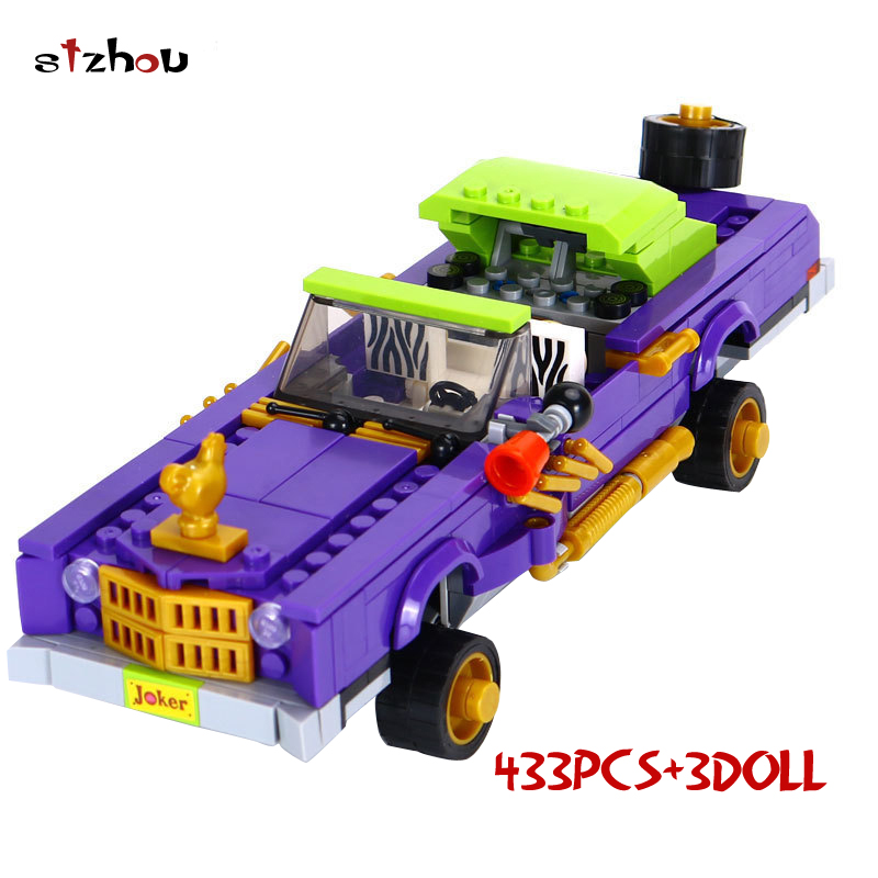 LEPIN Batman Series The Joker Notorious Lowrider Building Blocks Bricks Movie Model Kids Toys Marvel Compatible Legoe 433pcs lepin 07056 775pcs super heroes movie blocks the scuttler toys for children building blocks compatible legoe batman 70908
