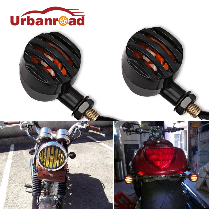 4pcs Black Vintage Motorcycle Led Turn Signal Indicators Rear Bullet Turn Signal Motorcycle Amber Blinker For Harley Chopper