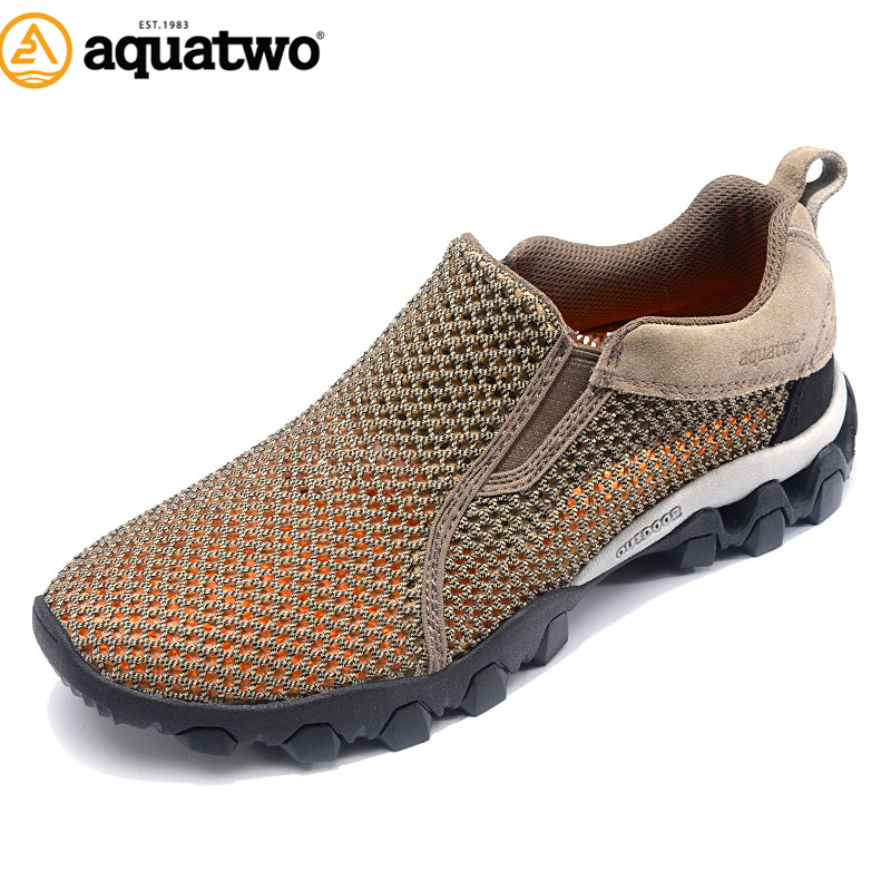 AQUA TWO Outdoor Camping Men Sports Hiking Shoes Air mesh Walking Sneakers Durable Breathable Climbing Athletic Shoes HDS-100957 aqua two outdoor camping men sports hiking shoes genuine leather boots walking sneakers wear resistance lace up shoes es 101022