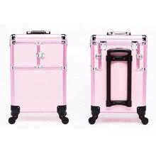 2f425d111 Hombres Nuevos de alta calidad Trolley caso cosmético equipaje rodante uñas  maquillaje caja de herramientas de