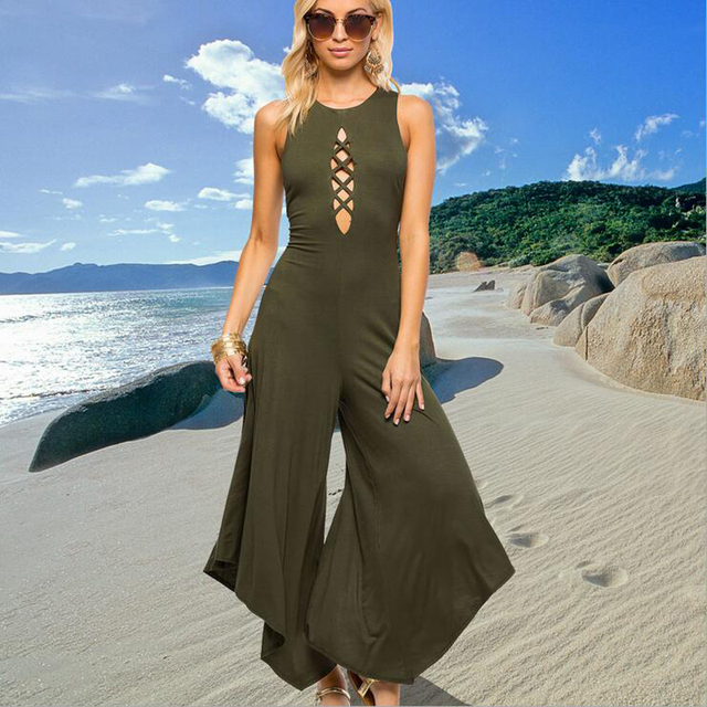 Women Jumpsuits Corset Wide leg pants Backless Rompers Sexy beach trousers Women tops Summer style