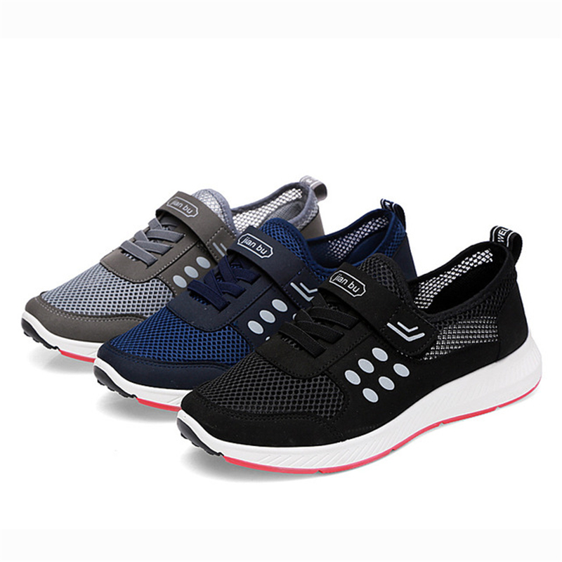 gris Des Mode Semelle Caoutchouc Légères Et Hommes Mesh slip Chaussures De Crochet Mâle Aa60681 bleu Non Respirant Noir En Sport Boucle IH9ED2