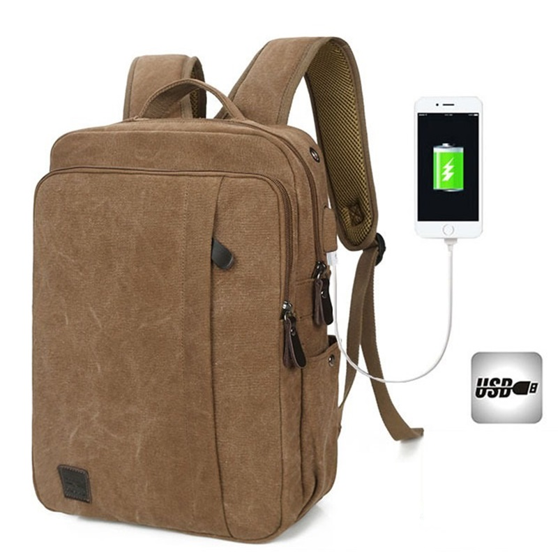 External USB Charge Computer Bag Canvas Notebook Backpack Men Laptop Backpacks College Students School Bags Male Dayback Bolsas