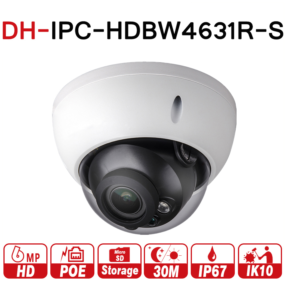 DH IPC-HDBW4631R-S 6MP IP Camera POE Camera Support IK10 IP67 POE SD Card Slot Upgrade From IPC-HDBW4431R-S with logo dahua ip camera 6mp poe ipc hdbw4631r s support sd slot ir30m ik10 ip67 cctv camera english firmware
