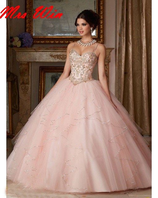 Us 2380 Vestido 15 Anos Blush Pink Beaded Quinceanera Dresses Sweetheart With Jacket Ball Gown Prom Dress Sweet 16 Dresses In Quinceanera Dresses