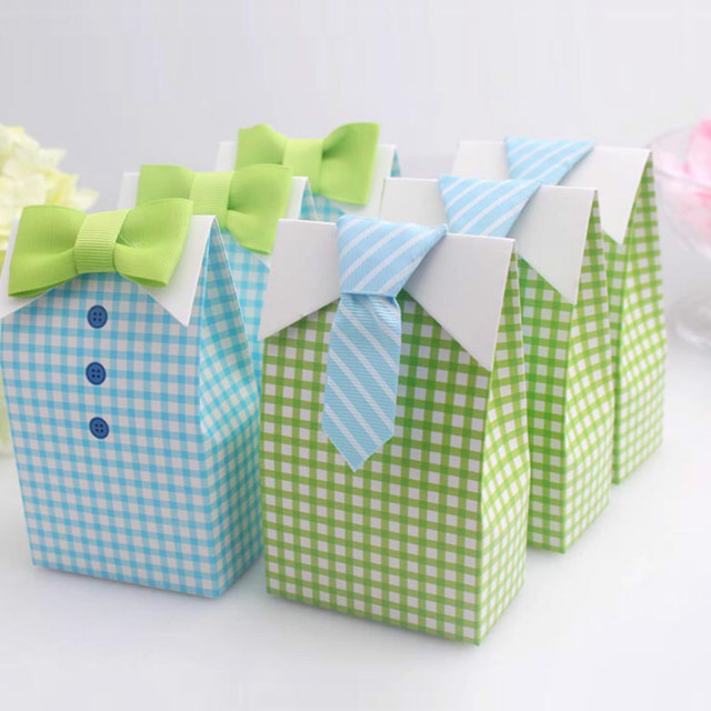24pcs My Little Man Blue Green Bow Tie Birthday Boy Baby Shower Favor Candy Treat Bag Wedding Favors Candy Box Gift Bags