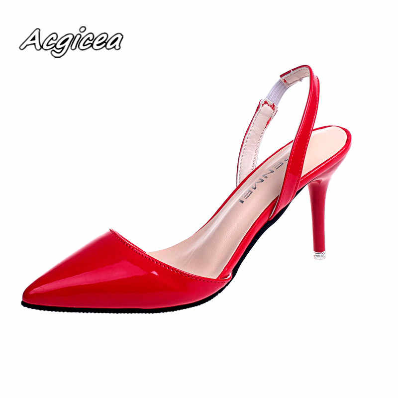 1126fe070c4 2019 summer Female sandals Pointed Toe high heels Nude color tip ...
