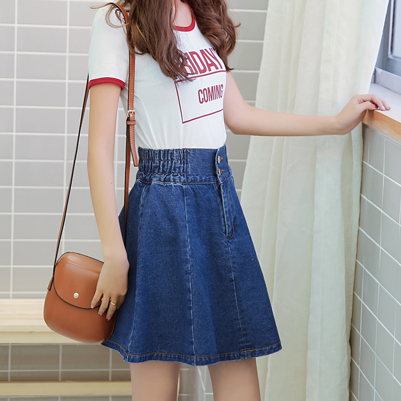 42d78ab7a4 Vetevidi New Korean denim skirt pleated high eastic waist loose a word  Ponceable skirt women 502#-in Skirts from Women's Clothing on  Aliexpress.com ...
