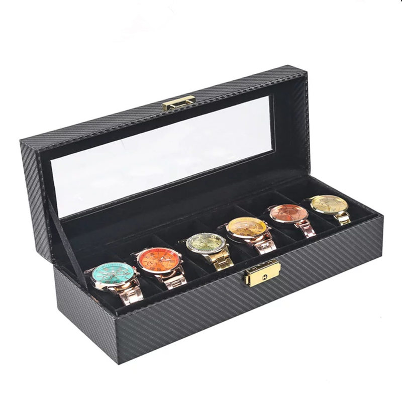 6 slots Carbon Fiber Leather Watch Boxes Taske med lås Sort PU Watch Display Cases Ny uropbevaring Gaveæske W022