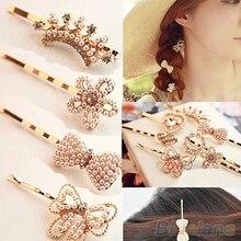 Hot 2pcs Fashion Womens Heart Bowknot Flower Pearl Rhinestone Hair Clip Hairpin  7F7J