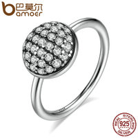 BAMOER Authentic 100 925 Sterling Silver Dazzling Droplet Clear CZ Rings Women Fashion Silver Jewelry S925
