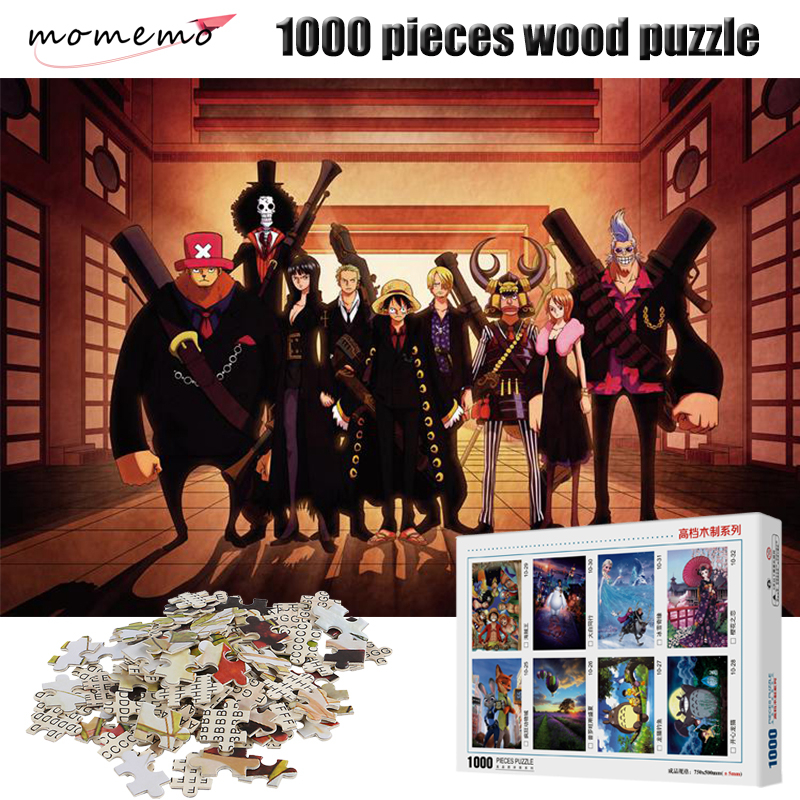 MOMEMO ONE PIECE Adult Wooden Puzzle 1000 Pieces Cartoon Anime Puzzles Entertainment Toys Assembling 1000 Pieces Puzzle Game