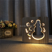 3D LED Night Light Snowman with warm white light for Home Decoration Lamp
