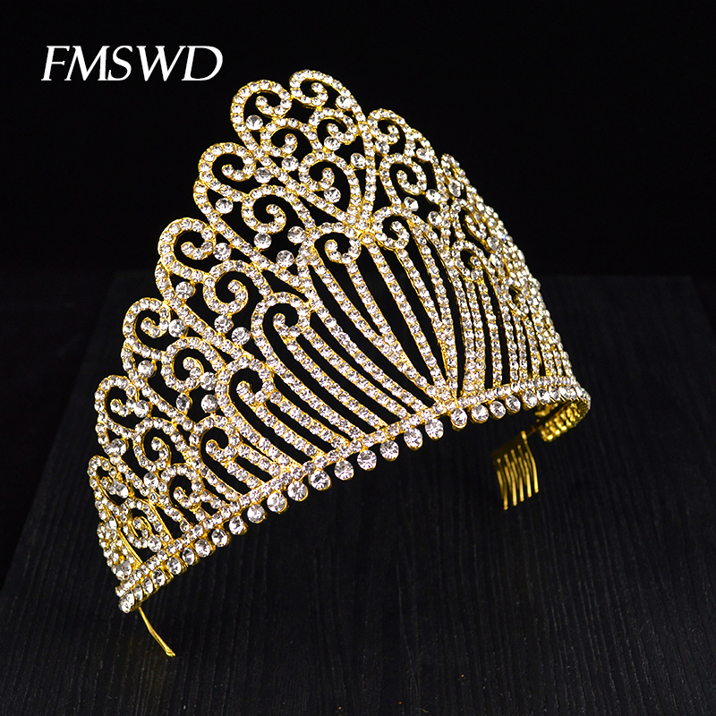 New Gold Silver Color Queen luxury Crystal Rhinestone Big Tiara For Wedding Large Crown Hair Accessories For Bride Headress new vintage gold color luxury baroque crown rhinestone crystal queen tiara big crown for bridal wedding hair jewelry accessories