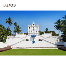 Laeacco White Church Tropical Palm Tree Photography Backgrounds Customized Photographic Backdrops For Photo Studio