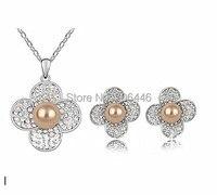 Tono de oro blanco CZ cristal diamante champagne perla de la flor collar y Pendientes de broche Juegos de joyería