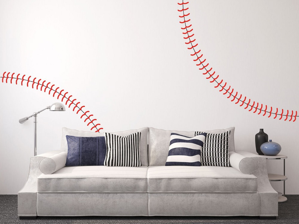 Giant full wall Baseball stitch vinyl decal,nursery Kindergarten wall Stickers ,home decor free ship
