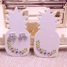 New design 100pcs white &kraft paper pineapple&cute cat&Life Tree shape earring cards Jewelry & clothes holder tags can custom