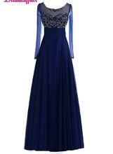 KapokBanyan Real Photo Vestido de festa Deep Blue Beads Prom Dresses 2017 Scoop Neck Long Sleeve Party Dress Robe soiree