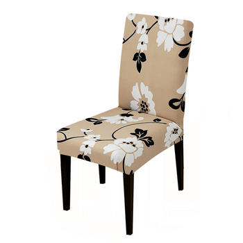Removable and Washable Chair Cover in Floral Print Design with Elastic Band for Banquet and Dining Room
