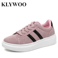 KLYWOO Fashion Women Shoes Designer Leather Spring Casual Shoes Women Sneakers Shoes Lace Up Women Tenis