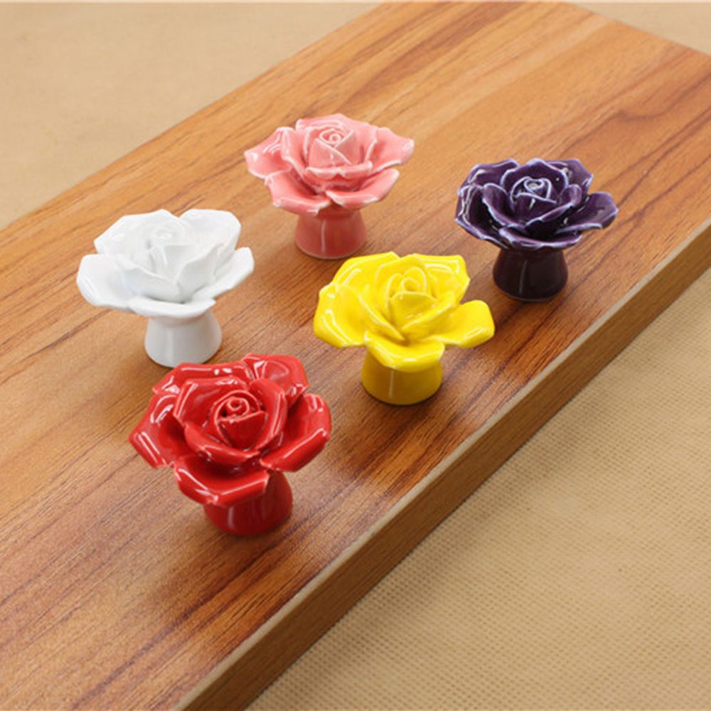 1 Stück Neue Antike Rose Keramik Blume Vintage Knöpfe Schublade Schrank Tür Porzellan Pull Griff Heimwerker Möbel Werkzeuge Modische Muster
