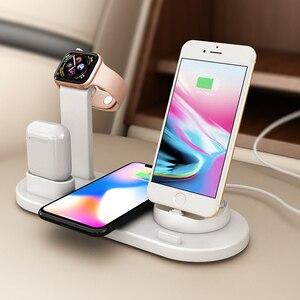 Image 4 - 3 en 1 chargeur à Induction de charge sans fil support pour iPhone X XS Max XR 8 Airpods Apple Watch Station daccueil 2 en 1 3in1