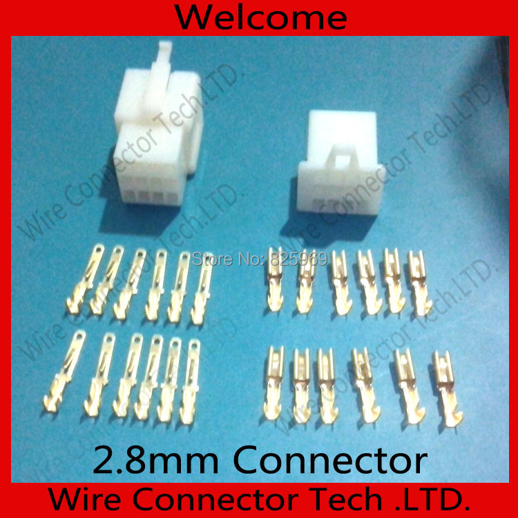 10 sets//lot 2.8mm Connector 6 pin Auto Electrical Wire 2.8 Connector Kits