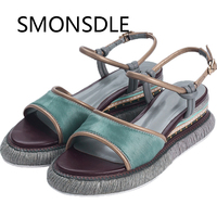Women Shoes European Style Genuine Leather Kid Suede Slope Heel Woman Sandals Mixed Colors Buckle Platform Summer Shoes Woman