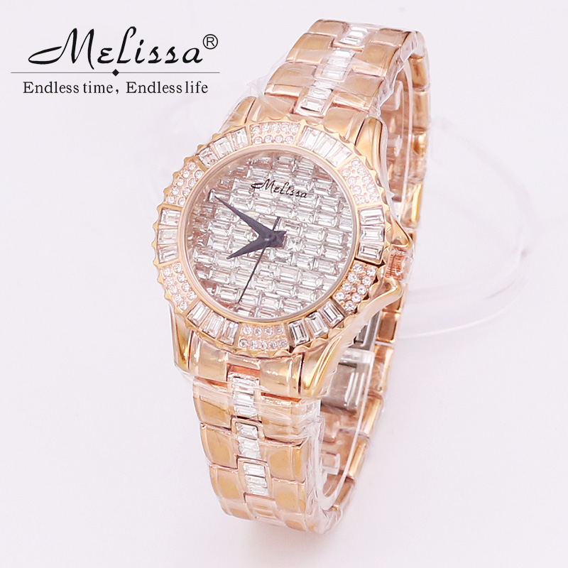 Sale Luxury Melissa Lady Women's Crystal Watch Elegant Rhinestone Fashion Hours Dress Clock Bracelet Girl's Party Birthday Gift