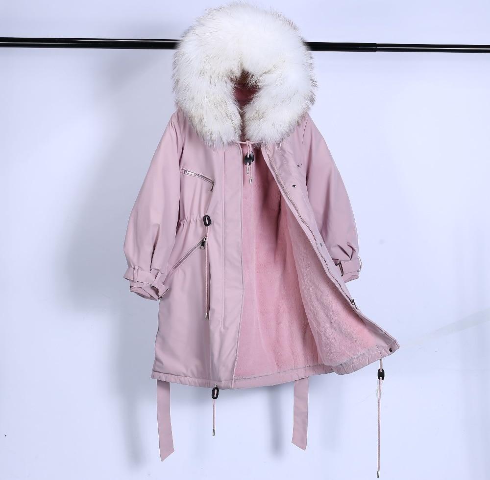 Large Natural Raccoon Fur Winter Jacket Women Hooded 19 Long Parkas For Female Thick Slim Down Winter Coat Women Waterproof 17