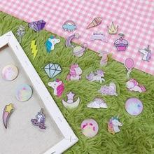 1pcs/lot Kawaii Unicorn girl Cartoon Badges Acrylic Icons on The Backpack Pin Brooch Plastic Badge