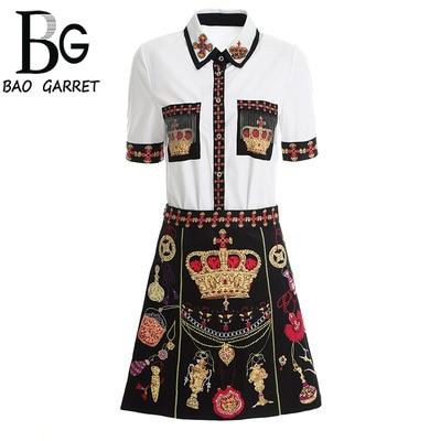 Baogarret femmes été piste jupe ensembles manches courtes perles gland Blouse + couronne imprimé noir jupe mode deux pièces ensemble