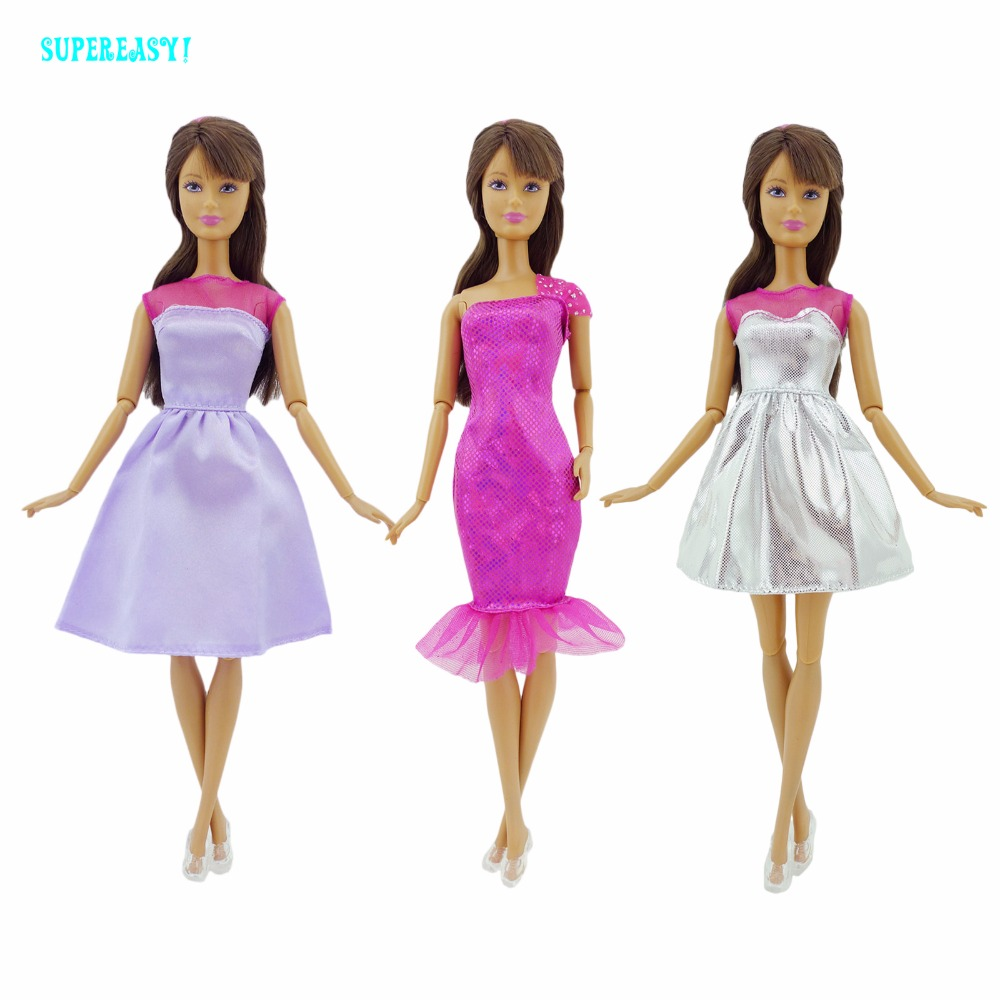 6Pcs A Lot = 3x Trend Clothes Marriage ceremony Dinner Occasion Mini Robe Skirt + 3x Clear Sneakers Garments For Barbie Doll Equipment