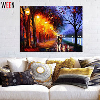 Unframed Landscape Pictures By Numbers Raining Walk DIY Digital Oil Painting Coloring By Numbers Canvas Art For Home Decor