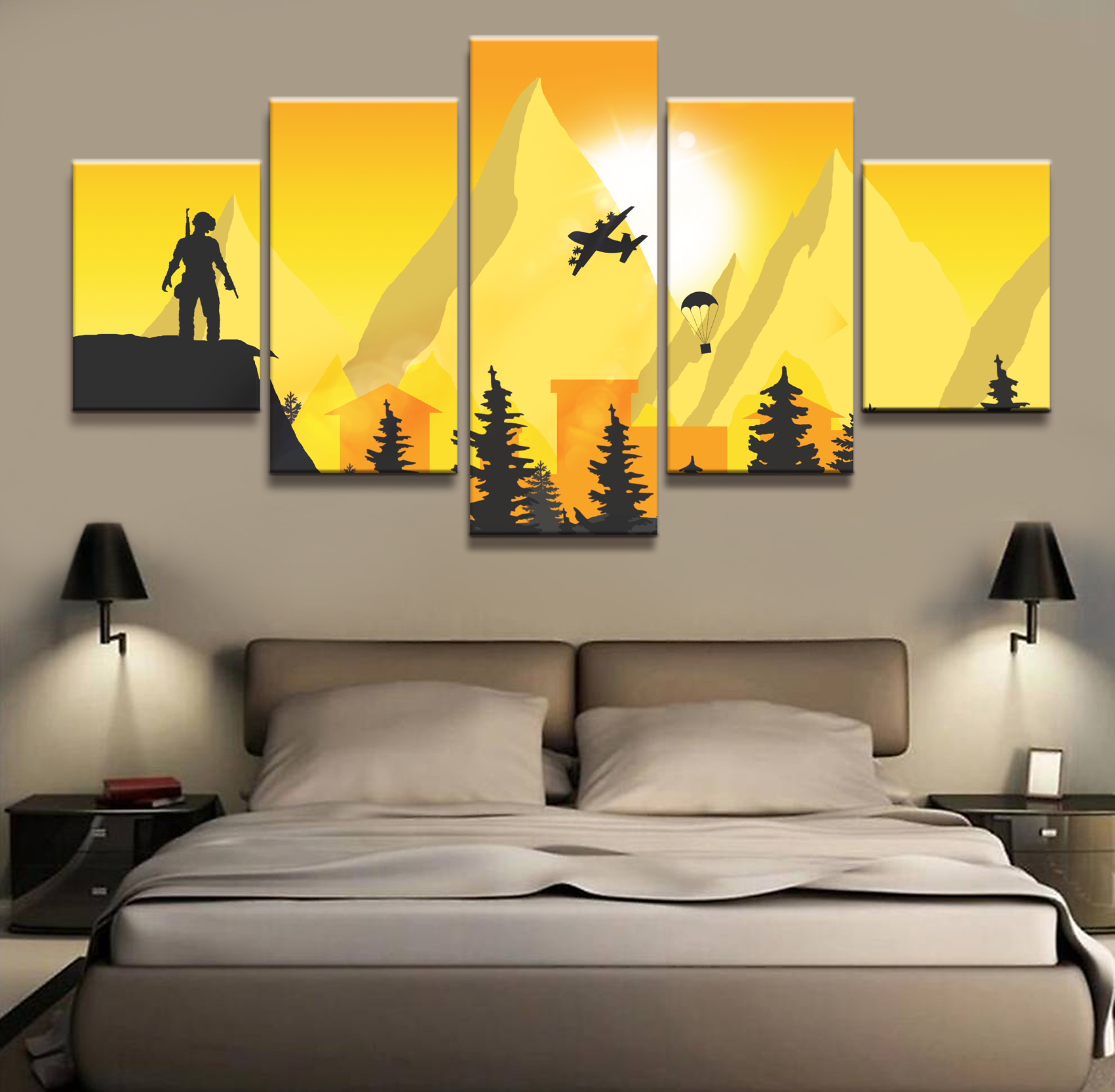 5 Piece Pubg Playerunknowns Battlegrounds Game Poster Artwork Wall Painting on Canvas for Home Decor