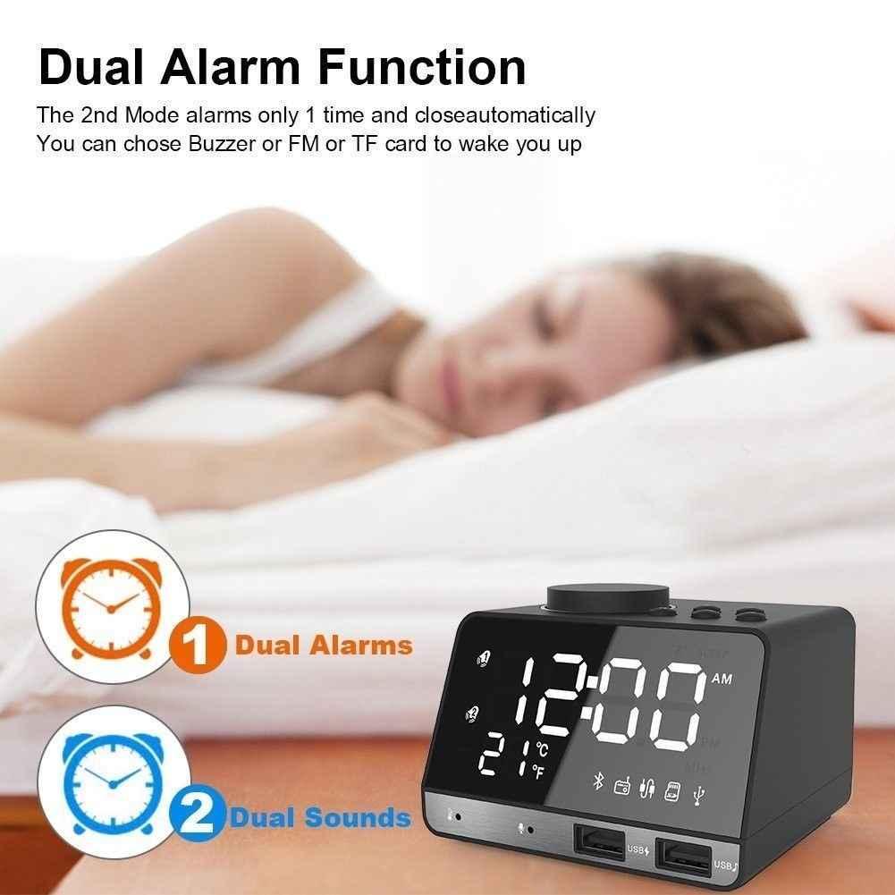 Altavoz Bluetooth inalámbrico Radio FM espejo LED Dual alarma reloj cargador USB