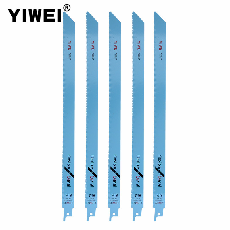 YIWEI 5PCS 300mm Bi-Metal Saw Blades 14TPI For Metal Thick Material Cutting Reciprocating Saw Power Tools Accessories S1222BF