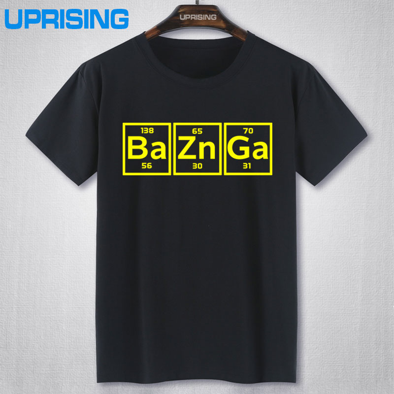Casual New 100% Cotton Men Short Sleeve T Shirt Bazinga Periodic Table The Big Bang Theory Sheldon Cooper T-shirt