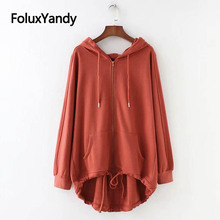 Zip Up Hoodies Sweatshirt Women Casual Solid Loose Long Sleeve Spring Autumn Long Hoodie SWM1210