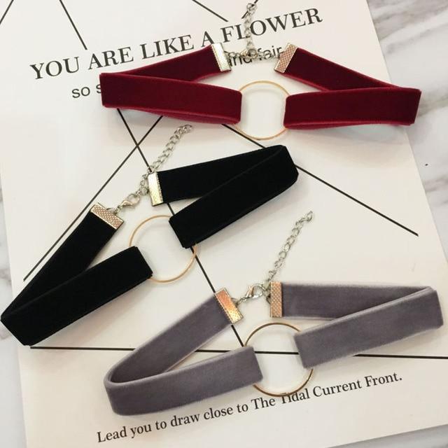 2017 Simple Black Velvet Choker Necklace For Women Geometric Circle Chocker Chok