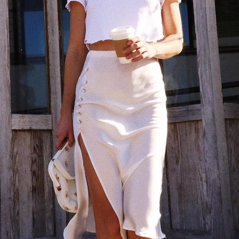 White Black Satin Silk Button Slit High Waist Midi Skirts Women Elegant Vintage Sexy Skirt Bottoms Summer
