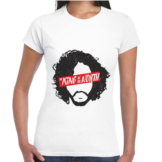 Game Of Thrones Jon Snow King In The North 100% Cotton Short Sleeve Women's T-Shirt