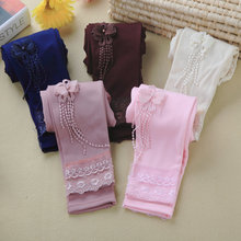 Retail girls plus velvet warm leggings 2016 spring and autumn fashion solid color cotton pants 4-7 years old children 5 colors